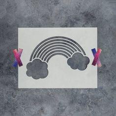 Rainbow Stencil - Reusable DIY Craft Stencils of a Rainbow Cloud Stencil, Stencil Diy, Stencil Designs, Diy Home Crafts, Easy Diy Crafts, Diy Crafts For Kids, Stencils For Kids, Craft Stencils, Geometric Stencil
