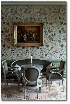 Häringe Slott in Sweden via Remodelista. Repeating antique hand-blocked panels with major design elements in the center. That way the design is not disrupted. Painted Wainscoting, Dining Room Wainscoting, Wainscoting Ideas, Fresco, Enchanted Castle, Swedish Interiors, Swedish Style, Swedish Decor, Tadelakt