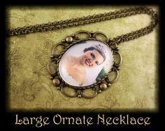 Custom Photo Necklace Personalized Gift Ornate Vintage Bronze 30x40 Oval. $18.00, via Etsy.