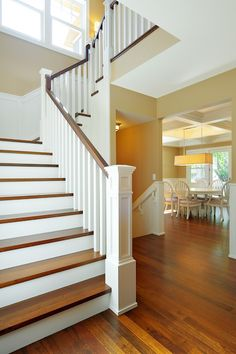 Wooden, white stairway Love the wide stairs and the railing. by joann Painted Stairs, Wood Stairs, House Stairs, Staircase Remodel, Dream Furniture, Plantation Homes, Interior Exterior, Cool Rooms, House Rooms