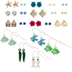 By the Sea Stud and Drop Earrings Set of 20 | Claire's