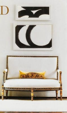 black and white painting, white and gold bench