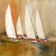 L'oeuvre unique et originale Voiliers en mer a été réalisée par l'artiste Olivier Messas, qui peint des marines très harmonieux, avec des couleurs très lumineuses et variées.