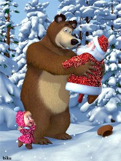 Download Animated 240x320 «С новым годом Маша и медведь» Cell Phone Wallpaper. Category: Holidays