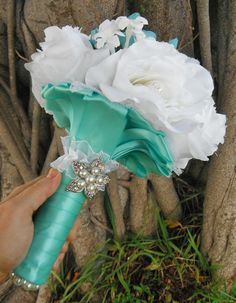 Tiffany Blue Wedding Bouquet with Pearl Accents by AngelicasBridal, $120.00