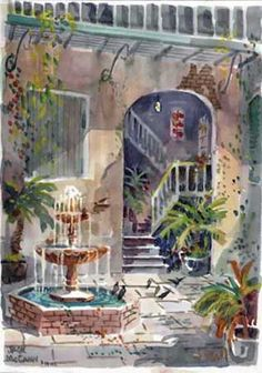 Doesn't this make you want to visit? New Orleans art print Spanish Courtyard on Royal Street, by French Quarter watercolor artist Jack McCann