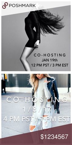 C O - H O S T I N G   P O S H P A R T Y Yay!  Co-hosting TWO upcoming parties: January 8th, 7 PM EST (4PM PST) and January 19th, 3 PM EST (12 PM PST) mark your calendars!  Theme TBD, like this post for up-to-date deets!!!  💕 Other