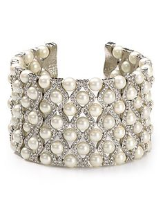 Carolee Wide's Drama Cuff Bracelet with Diamonds, Pearls and white gold ♥