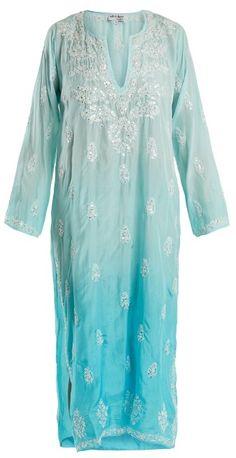 JULIET DUNN Floral-embroidered silk shirtdress
