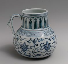 Tankard with Peony Scroll Period: Ming dynasty (1368–1644), Xuande mark and period (1426–35) Date: 15th century Culture: China Medium: Porcelain painted with cobalt blue under transparent glaze (Jingdezhen ware)