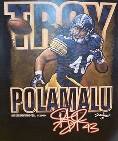 Pittsburgh Steelers Troy Polamalu Black NFL Signature Series T Shirt - M or L Pittsburgh Steelers Helmet, Pittsburgh Steelers Wallpaper, Steelers Gear, Steelers Rings, Willie Parker, Super Bowl Xl, Steelers Super Bowls, Troy Polamalu, Sports Decals
