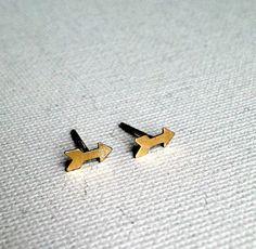 Tiny Brass Arrow Studs  by Rachel Pfeffer