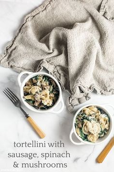 tortellini with sausage spinach and mushrooms | Sheri Silver - living a well-tended life... at any age Spinach Stuffed Mushrooms, Stuffed Peppers, Filled Pasta, Sweet Italian Sausage, Cooking For One, Fennel Seeds, Tortellini, Original Recipe, Weeknight Meals