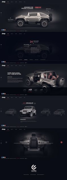 Another car homepage for Jeep. This layout looks awesome I do like how it has plenty of information but not soo much that its too much. I like the dark background; the type of jeeps they have; the interior; social media that they have and navigation. Its a well organized page.