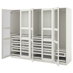 ELVARLI 4 sections, white, bamboo. ELVARLI storage system adapts to your space. The open solution with durable bamboo shelves creates an attractive display of your belongings. Dressing Pax Ikea, Pax Corner Wardrobe, Glass Wardrobe, Ikea Pax Wardrobe, White Wardrobe, Wardrobe Storage, Bedroom Storage, Pax Planer