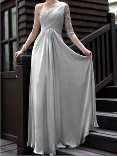 Custom Greece One Shoulder White Cream Pink Bride Bridesmaids Wedding Dress Gown S349. $299.00, via Etsy.