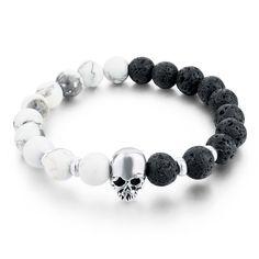 Lava Beads Elastic Bracelets Men