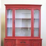 Beautiful shade of red on this china cabinet.  Not too dark, and not too bright.