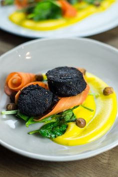 Black Pudding, Hazelnut, Butternut Squash Puree and Pickled Carrot