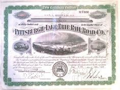 Vintage Pittsburgh & Lake Erie Railroad Co 1948 Cancelled Stock Certificate.
