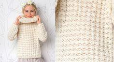 Un snood pour les petites filles ! Celui ci est tricoté avec un fil brillant ajouté au fil de base. Un joli coordonné qu'elles vont adorer cet hiver. Tailles : a) 4 ans; b) 6 ans; c) 8 ans; ...