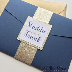 Navy and gold Glitter wedding invitation by ATGInvitations