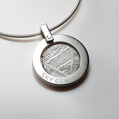 Geometric Spinning Circle Meteorite Stainless Steel Pendant Necklace
