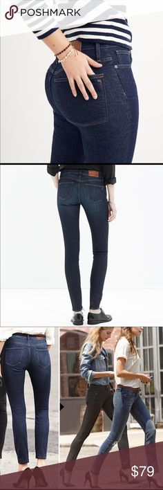 """JUST IN👖 MADEWELL DARK BLUE WASH SKINNY JEANS Madewell is definitely answering the #1 question we all have when it comes to Denim. Does my butt look good in these Jeans? Madewell Jeans does """"life-altering things to the rearview"""" I practically live in Jeans. Madewell is on the Top of my List. No bagging at the knees etc. thanks to a Special """"Snap-Back"""" fabric. And YES! Your butt will look better than good in these jeans. Madewell Jeans Skinny"""