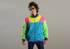EPIC neon vintage 90s Coogi jacket 1990 by CarnivalOfTheManiac, $79.50 /// www.art-by-ken.com