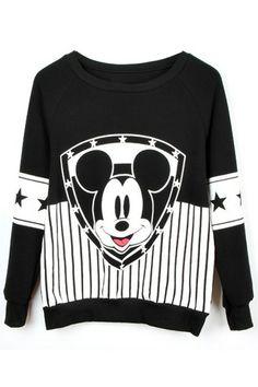 ROMWE | Black Long Sleeve Vertical Stripe Mickey Mouse Sweatshirt, The Latest Street Fashion