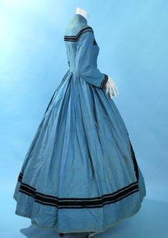 "1860 Indigo Blue Wool blend Stripe Ladies Day Wear Dress w Velvet Trimmings   eBay seller heartnsoul1, front jet button closure, black velvet trim, cartridge pleating in back, fully lined in brown buckrum (sic}, bust: 34""; waist: 24""; length: 54-60"""