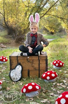 Why is the White Rabbit always late?  Features: Mushroom Hat and Sound Activated Rabbit Moving Ears, Eleventh Doctor Jacket and Bow Tie, Gold Monocle (all:elope)  http://www.elope.com/  2016 catalog photos by Free Spirit Colorado