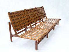 Ilmari Tapiovaara, Teak and Leather Sofa for  La Permanente Cantù, 1957.