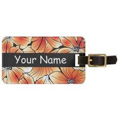 Orange hibiscus luggage tag - flowers floral flower design unique style