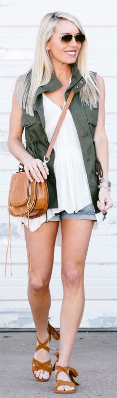 #cute #outfits  Green Vest / White Blouse / Denim Short / Brown Leather Shoulder Bag / Brown Sandals