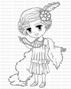 1920s coloring pages for kids | Digi Stamp-Isabel's Bouquet, Pretty Girl Coloring page ...