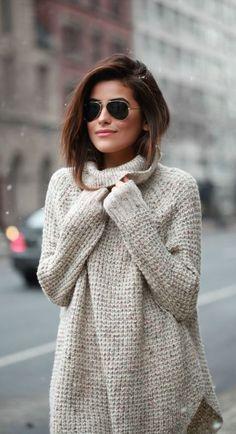 #winter #fashion / gray turtleneck knit