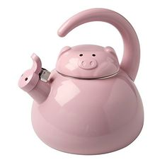 Cute Whistling Pig Metal Teapot - Enamel Finish - 2 Quart Kettle