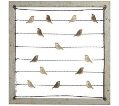 Pleasant little birds perched on wires will add a fun, lively and whimsical element to your home decor. The painted metal birds can be used to hold cards, pictures, notes or lists. The gray-blue painted wood frame gives it a country feel.