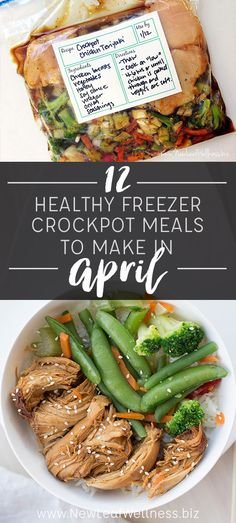 12 Healthy Crockpot Freezer Meals to Make in April -FREE Printable Recipes, Shopping Lists & Meal Planning Calendar Included!