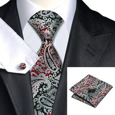 Tie, Handkerchief and Cufflinks In Red and Black