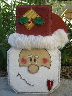 Santa Claus Patio Person by SunburstOutdoorDecor on Etsy Christmas Yard Art, Outdoor Christmas, Christmas Projects, Winter Christmas, Christmas Decorations, Christmas Ornaments, Outdoor Decorations, Painted Bricks Crafts, Brick Crafts