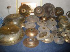 Large Lot Vintage lamp part chandelier plate cap brass Kerosene Oil sconce