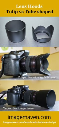 Lens hood comparison. Tulip or Tube shaped? What is best? Read the blog post for more info and why you should use a lens hood. http://www.imagemaven.com/lens-hoods-tubes-vs-tulips/