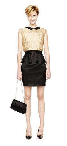trend: peplum – satin peplum skirt and metallic lace top