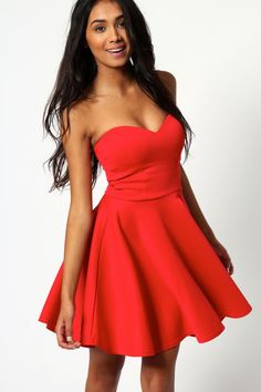 Polly Bandeau Skater Dress at boohoo.com in black, blush, cobalt, coral, grape, ice, lavender and red - $45 - sweetheart neck - strapless