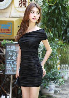 Sexy Fashion Cross Diagonal Hip Dress Black