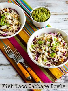 Jake and I loved everything about these Low-Carb Fish Taco Cabbage Bowls and this recipe is also Keto, low-glycemic, gluten-free, South Beach Diet friendly, and it can even be Paleo or Whole 30 with the right ingredient choices! Use the Recipes-by-Diet-Type Index to find more recipes like this one. Click here to PIN these tasty Fish Taco Cabbage …