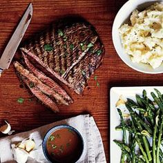 Pan-Grilled Flank Steak with Soy-Mustard Sauce | MyRecipes.com