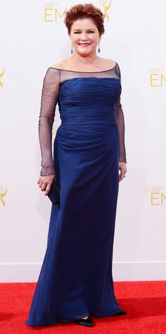 Emmy Awards 2014 Red Carpet Photos - Kate Mulgrew  in a blue gown. #InStyle